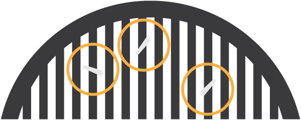 Inspect grill for loose bristles